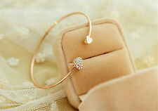 Fashion Women Gold Plated Cuff Bangle Love Crystal Heart Charm Bracelet Jewelry