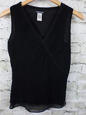 Jones New York Womens Top Black Silk Crepe Sheer Layered Ruched Size 4