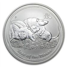 (5) Australia $1 Dollar 2008 Lunar Series II Mouse Rat 1 oz .999 Silver Coin