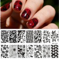 BORN PRETTY Nagel Stempel Schablone Blume Nail Art Stamping Template Plates DIY