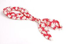 Cute Summertime Ladies Soft Red Wired Headband w Creamy Flower Pattern (S317)