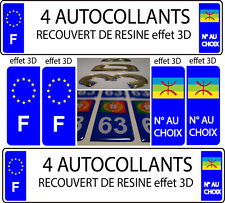 4 sticker plaque immatriculation TUNING DOMING 3D RESINE DRAPEAU AMAZIGH °CHOIX