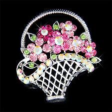 w Swarovski Crystal Cute ~Pink FLOWER Floral BASKET Pin BROOCH Xmas Jewelry Gift