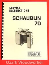 SCHAUBLIN TO 70-80 Precision Toolmaker's Lathe Operating and Parts Manual 1039