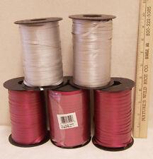 Lot of 5 Curling Ribbon Spools Berwick Crafts Burgundy Red & Silver Gray Grey