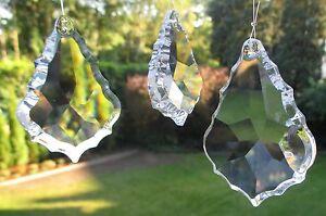"""1 """"Blatt"""" Kristallanhänger, 50 x 35 mm. 30%Pho Lüstersteine, Fensterschmuck, #13"""