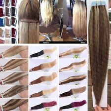 Remy Human Hair Extensions 16-26inch Tape In PU Skin Weft Ombre 7A Seamless