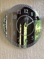 SILVER SPARKLE GLITTER MIRRORED WALL CLOCK KITCHEN BEDROOM GLASS WALL CLOCK NEW