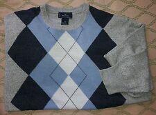 ARGYLE Long sleeve Golf Sweater Crew Neck Gray/Blue/Black Soft Acrylic Mens Med.