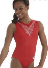 Gabby Gabrielle Gk Elite Leotard Gymnastics Jewel Neckline Rhinestone Bling Cl