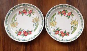 "2 X PORTMEIRION FLOWERS OF THE MONTH SUSAN WILLIAMS-ELLIS 10.25"" DINNER PLATES"