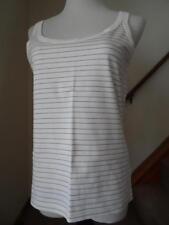 RALPH LAUREN Ivory Cream Striped Sleeveless Pima Cotton Tank Top Shirt Sz Small