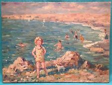 Antique Beach Scene with Children Dog Bathers Oil on Canvas Vibrant Colors