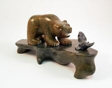 Bear With Fish - Aboriginal Soapstone Carving For Sale