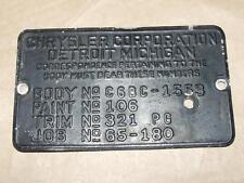 Vintage Original Chrysler Cowl Tag Body Code Tag 4 7/8 X 2 7/8
