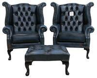 2 x Chesterfield Queen Anne Wing High Back Fireside Chairs Antique Blue Leather