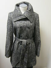 DKNY Donna Karan Black & Ivory Tweed Double Breasted Wool Coat 8 NWOT