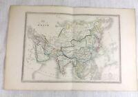 1846 Antik Map Of Asien Die Fern East Selten Hand Farbig Gravur 19th Jahrhundert