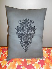 Goth, Gothic CROSS Embroidered Accent Pillow,Halloween,Victorian
