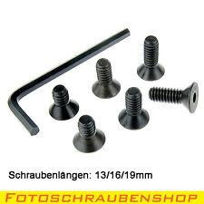 """Set 1/4""""-Senkkopf-Fotoschrauben 13, 16 + 19mm mit Innensechskantschlüssel (Zoll)"""