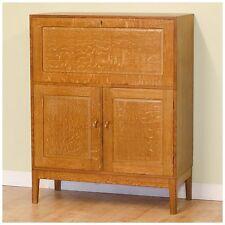 Arts and Crafts Oak Bureau Cabinet by Edward Barnsley [The Barnsley Workshop]