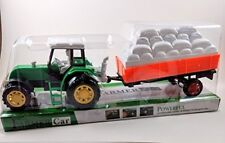Toy Farm Tractor Truck & Trailer Set / Push And Go - New