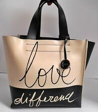 Furla Love Small Black Beige Leather Tote Bag Italy