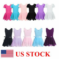 US Girl Gymnastics Ballet Leotard Dress Kids Dance Tutu Skirt Dance wear Costume