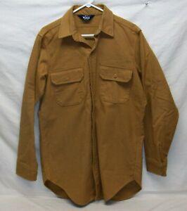 "Vintage ""Woolrich"" (USA) Heavy Flannel Chamois Shirt Men's XL Light Brown Tan"