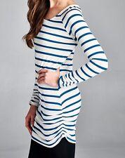 Vanilla Bay Teal White Dark Red Striped Long Sleeve Tunic Dress NEW S M L USA
