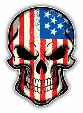 "USA Flag Skull United States Car Bumper Sticker Decal 4"" x 5"""