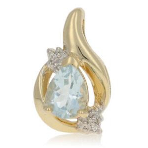 Yellow Gold Sky Blue Topaz & Diamond Pendant - 10k Pear Cut 1.00ct