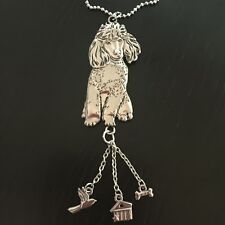 Ganz Poodle Metal Dog Car Charm w/ Dangles & Chain for Rear view Mirror 37669