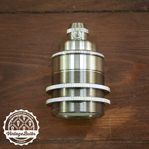 Vintage metal pendant lamp holder Nickel retro antique style light E27 #2