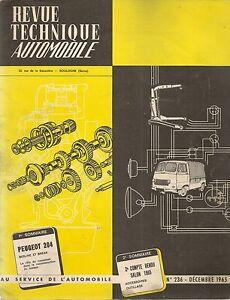 REVUE TECHNIQUE AUTOMOBILE 236 RTA 1965 ETUDE PEUGEOT 204 BERLINE et BREAK
