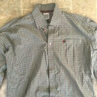 Cinch Mens Dress Shirt Button Down Collared Long Sleeve Plaid Brown Size M
