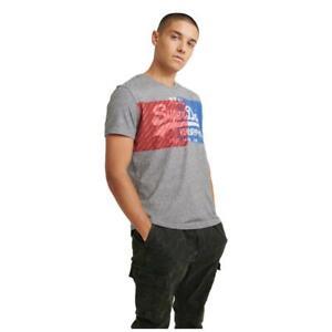 Superdry NEW Men's Vintage Logo Overlap Dye T-Shirt - Phoenix Grey Grit BNWT