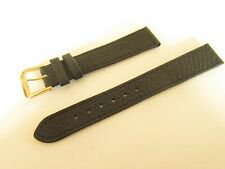 BLACK TEXTURED LEATHER 16MM WATCH STRAP BAND GOLD BUCKLE