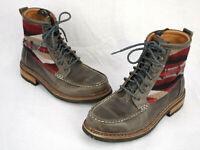 PENDLETON X CLARKS Wool Leather Aztec Southwestern Boho Ankle BOOTS Mens US 8 M