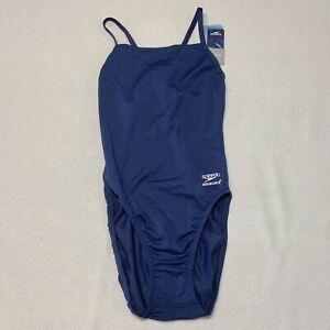 New Speedo Endurance+ One Piece Swimsuit Sz 6 / 32 Navy Blue Swim
