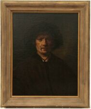 REMBRANDT Self Portrait 19th Century Antique Old Master Oil Painting on Canvas