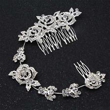 Bridal Wedding Crystal Rose Rhinestone Diamante Hair Comb Hair Clip Hairband