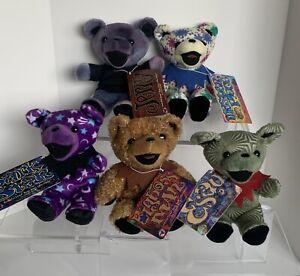 VTG Grateful Dead lot of 5 BEAN BEARS Jerry Garcia Plush Liquid Blue TAGS
