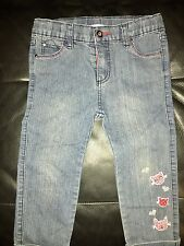 Pumpkin Patch Girls Size 6 Denim 3/4 Jeans Shorts Cat Kitten Distressed Washed