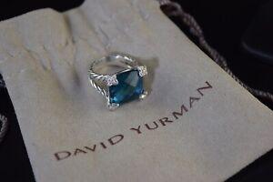 DAVID YURMAN SILVER CUSHION ON POINT 14MM BLUE TOPAZ & DIAMOND RING SZ 5