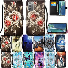 For Samsung Galaxy Note20 Ultra Pattern Magnetic Strap Leather Cards Stand Case