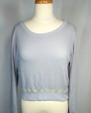 FOREVER 21 Woman's Long Sleeve Mesh Fitness Top Gray w/ Yellow Trim SZ M