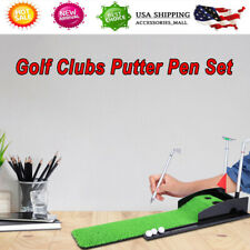 Golf Mini Course Pole Club Set Golf Pen Set Mini Desktop Golf Ball Pen Gift Set