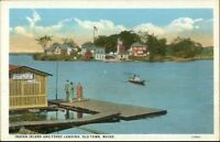 Old Town ME Indian Island & Ferry Landing c1920 Postcard