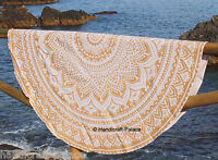 "Ombre Mandala Print Round White Tapestry 72"" Indian Hippie Beach Throw Yoga Mat"